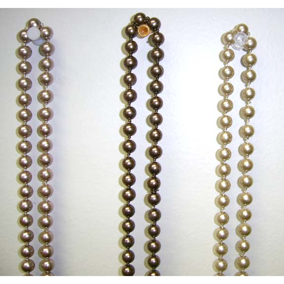 72 INCH GLASS BEADS PEARL NECKLACES IN  SHADES OF BROWNS